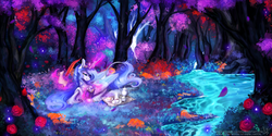 Size: 3464x1732 | Tagged: safe, artist:wilvarin-liadon, oc, oc only, oc:iridae, alicorn, pony, alicorn oc, beautiful, color porn, cup, digital art, eyestrain warning, female, flower, food, forest, mare, quill, reading, river, rose, scenery, scenery porn, scroll, signature, solo, stream, tea, teacup, writing