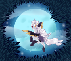 Size: 3500x3000 | Tagged: artist:aledera, cloud, colored ears, colored pupils, colored wings, female, flying, full moon, high res, leaf, looking at you, looking back, looking back at you, mare, moon, night, night sky, oc, oc:ira, oc only, open mouth, pegasus, pony, safe, sky, smiling, socks (coat marking), solo, spread wings, starry night, two toned wings, underhoof, windswept mane, wings