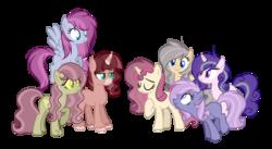 Size: 1024x562 | Tagged: safe, artist:mintoria, oc, oc only, earth pony, hybrid, pegasus, pony, unicorn, female, interspecies offspring, magical lesbian spawn, mare, offspring, parent:applejack, parent:discord, parent:fluttershy, parent:night glider, parent:pinkie pie, parent:princess cadance, parent:princess celestia, parent:rainbow dash, parent:rarity, parent:shining armor, parent:starlight glimmer, parent:sunburst, parent:sunset shimmer, parent:twilight sparkle, parents:discoshy, parents:pinkiedash, parents:rarijack, parents:shiningcadance, parents:sunsestia, parents:twiburst, simple background, transparent background