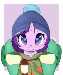 Size: 3755x4500 | Tagged: safe, artist:potzm, starlight glimmer, pony, unicorn, the mean 6, :3, abstract background, backpack, bag, beanie, blushing, camping outfit, cute, daaaaaaaaaaaw, female, glimmerbetes, hat, heart eyes, high res, lamp, lantern, looking at you, mare, parka, smiling, solo, weapons-grade cute, wingding eyes