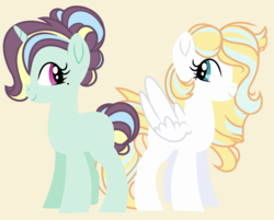 Size: 5136x4136 | Tagged: absurd res, artist:starfalldawn, female, mare, oc, oc:angelic dove, oc:ladylike, oc only, parent:rarity, parents:raribreeze, parent:zephyr breeze, pony, safe, simple background, sisters, unicorn, yellow background