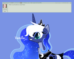 Size: 1500x1200   Tagged: safe, artist:sugaryicecreammlp, princess luna, alicorn, pony, ask nebula luna, alternate design, ask, blue background, deviantart, digital art, female, mare, simple background, solo