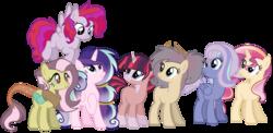 Size: 2876x1408 | Tagged: safe, artist:leanne264, oc, oc only, earth pony, hybrid, pegasus, pony, unicorn, female, interspecies offspring, magical lesbian spawn, mare, offspring, parent:applejack, parent:discord, parent:fluttershy, parent:night glider, parent:pinkie pie, parent:princess cadance, parent:princess celestia, parent:rainbow dash, parent:rarity, parent:shining armor, parent:starlight glimmer, parent:sunburst, parent:sunset shimmer, parent:twilight sparkle, parents:discoshy, parents:pinkiedash, parents:rarijack, parents:shiningcadance, parents:sunsestia, parents:twiburst, simple background, transparent background