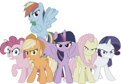 Size: 5303x3684 | Tagged: alicorn, artist:jhayarr23, clone, clone six, cutie mark, dummy, earth pony, evil applejack, evil fluttershy, evil grin, evil pinkie pie, evil rainbow dash, evil rarity, evil twilight, female, grin, looking at you, mane six, mare, mean applejack, mean fluttershy, mean pinkie pie, mean rainbow dash, mean rarity, mean six, mean twilight sparkle, pegasus, pony, safe, simple background, smiling, the mean 6, transparent background, unicorn, vector