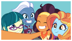 Size: 11589x6573 | Tagged: safe, artist:punzil504, juniper montage, night glider, saffron masala, sassy saddles, equestria girls, absurd resolution, beautiful, clothes, cute, equestria girls-ified, eyes closed, glasses, glideabetes, junibetes, saffronbetes, sassybetes, selfie, smiling