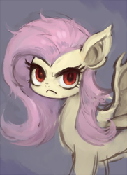 Size: 460x633 | Tagged: safe, artist:kei05, fluttershy, bat pony, female, flutterbat, looking at you, mare, race swap, scowl, simple background, solo, species swap