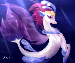 Size: 1200x1000 | Tagged: safe, artist:sn0wy18, queen novo, seapony (g4), my little pony: the movie, crepuscular rays, digital art, female, mare, ocean, signature, solo, underwater