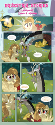 Size: 1919x4338   Tagged: safe, artist:estories, discord, oc, oc:alice goldenfeather, draconequus, pegasus, pony, comic:find yourself, adult blank flank, comic, female, mare
