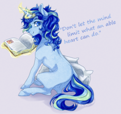 Size: 900x854 | Tagged: safe, artist:castaspellliana, oc, oc:sparkling sapphire, pony, unicorn, series:sciset diary, book, levitation, magic, magical lesbian spawn, offspring, older, paraplegic, paraplegic mare, parent:sci-twi, parent:sunset shimmer, parents:scitwishimmer, telekinesis