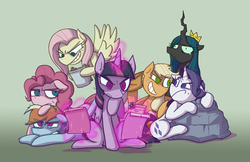 Size: 5100x3300 | Tagged: safe, artist:zanefir-dran, mean applejack, mean fluttershy, mean pinkie pie, mean rainbow dash, mean rarity, mean twilight sparkle, queen chrysalis, alicorn, earth pony, pegasus, pony, unicorn, the mean 6, clone, clone six, former queen chrysalis, i'm surrounded by idiots, mean six, mommy chrissy