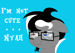 Size: 1024x724 | Tagged: safe, artist:sharpiesketches, oc, oc only, oc:jayofthezenn, pony, blushing, bust, glasses, heterochromia, i'm not cute, portrait, scrunchy face, simple background, solo, text, tsundere