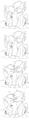 Size: 1704x7016 | Tagged: safe, artist:heddopen, oc, oc only, oc:diamond frost, oc:noot, earth pony, pegasus, pony, comic, dianoot, ear fluff, female, food, grayscale, male, monochrome, oc x oc, pocky, shipping, short comic, straight, wings