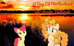 Size: 3200x2000 | Tagged: apple bloom, artist:huntercwalls, cloud, cloudy, family, fanfic, fanfic art, fanfic cover, female, fimfiction, food, heartwarming, lake, love, mother and daughter, orange, pear butter, safe, spoiler:s07e13, sunset, the perfect pear