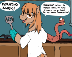 Size: 1499x1199 | Tagged: safe, artist:pony quarantine, oc, oc:thingpone, adoracreepy, bipedal, body horror, cooking, creepy, cute, egg, eldritch abomination, electric skillet, implied anon, implied assimilation, kitchen, shapeshifting, smiling, solo, spatula, tentacles