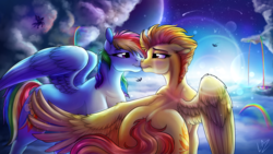 Size: 3840x2160 | Tagged: safe, artist:lupiarts, rainbow dash, spitfire, pegasus, pony, rainbow falls, butt shake, butt touch, cloud, commission, feathermarking, female, flying, kissing, lens flare, lesbian, looking at each other, mare, plot, romance, shipping, sky, spitdash, stars