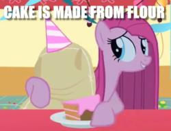 Size: 1053x805 | Tagged: safe, edit, edited screencap, screencap, madame leflour, pinkie pie, earth pony, pony, party of one, cake, female, food, fridge horror, image macro, implied cannibalism, meme, pinkamena diane pie, solo, the implications are horrible