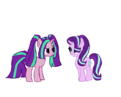 Size: 2500x2000 | Tagged: aria blaze, artist:sodadoodle, colored sketch, duo, duo female, female, look-alike, safe, simple background, sketch, starlight glimmer, transparent background, unicorn