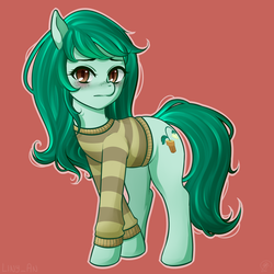 Size: 2121x2121 | Tagged: safe, artist:liny-an, wallflower blush, earth pony, pony, blushing, clothes, crossed hooves, cutie mark, equestria girls ponified, female, looking at you, mare, messy mane, ponified, shy, simple background, solo, sweater