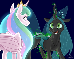 Size: 3000x2400 | Tagged: safe, artist:eeviart, princess celestia, queen chrysalis, alicorn, changeling, changeling queen, pony, duo, eye contact, female, looking at each other, mare