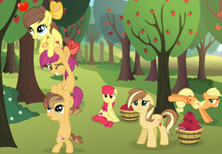 Size: 6771x4715   Tagged: safe, artist:velveagicsentryyt, apple bloom, applejack, oc, oc:apple dance, oc:apple flower, oc:apple pie, oc:apple seed, earth pony, pony, absurd resolution, apple orchard, apple tree, applebucking, base used, female, filly, hatless, mare, missing accessory, offspring, older, parent:apple bloom, parent:applejack, parent:caramel, parent:tender taps, parents:carajack, parents:tenderbloom, tree