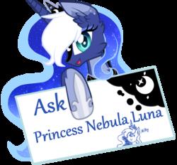 Size: 890x826   Tagged: safe, artist:sugaryicecreammlp, princess luna, alicorn, pony, ask nebula luna, alternate design, ask, blue background, female, mare, simple background, solo, text, transparent background, tumblr