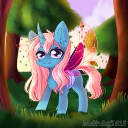 Size: 768x768 | Tagged: safe, artist:malinraf1615, oc, oc only, unnamed oc, changepony, hybrid, female, filly, interspecies offspring, offspring, parent:pharynx, parent:trixie, parents:phartrix, solo, tree