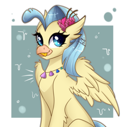 Size: 3000x3000   Tagged: dead source, safe, artist:colirosablitz, princess skystar, classical hippogriff, hippogriff, my little pony: the movie, :p, cute, featured image, female, jewelry, looking at you, necklace, seashell necklace, silly, simple background, skyabetes, solo, sweet dreams fuel, tongue out, transparent background