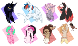 Size: 5900x3500 | Tagged: safe, artist:honeybbear, oc, oc only, oc:caffine, oc:cinnamon, oc:claire, oc:elwi, oc:hitomi, oc:party blossom, oc:vanity, bird, pegasus, pony, bust, female, mare, portrait