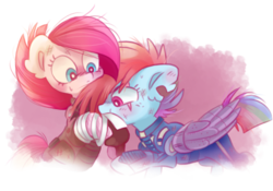 Size: 1076x755 | Tagged: abstract background, alternate timeline, amputee, apinkalypse pie, apocalypse dash, artist:pinkablue, blushing, crystal war timeline, ear fluff, earth pony, eye scar, female, lesbian, mare, pegasus, pinkamena diane pie, pinkiedash, pinkie pie, pony, prosthetic limb, prosthetics, prosthetic wing, rainbow dash, safe, scar, shipping, simple background, transparent background