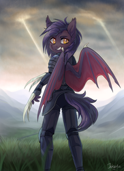 Size: 1400x1919 | Tagged: source needed, safe, artist:jekeita, oc, oc only, oc:dawn sentry, bat pony, anthro, armor, bat pony oc, bat wings, claws, cloud, digital art, female, grass, grin, looking at you, looking back, looking back at you, mare, metal claws, sky, smiling, weapon, wings