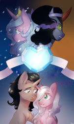Size: 1024x1693 | Tagged: artist:worldlofldreams, crystal heart, female, hopebra, idw, king sombra, male, mare, radiant hope, safe, shipping, stallion, straight, unicorn