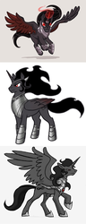 Size: 877x2292 | Tagged: alicorn, alicornified, armor, artist:derangedhyena, compilation, cutie mark, flying, glowing horn, gray background, king sombra, magic, male, pony, race swap, red eyes, safe, simple background, solo, sombracorn, spread wings, stallion, tumblr, white background, wings, xk-class end-of-the-world scenario