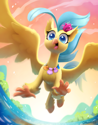 Size: 1800x2291   Tagged: safe, artist:dawnfire, princess skystar, classical hippogriff, hippogriff, my little pony: the movie, cute, female, flying, jewelry, necklace, seashell necklace, skyabetes, solo, spread wings, sweet dreams fuel, wings