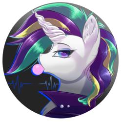 Size: 1024x1024   Tagged: safe, artist:banoodle, rarity, pony, unicorn, alternate hairstyle, bubblegum, bust, clothes, eyeshadow, female, food, gum, jacket, makeup, mare, punk, raripunk, solo