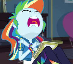Size: 1245x1079   Tagged: safe, screencap, rainbow dash, equestria girls, equestria girls series, the finals countdown, book, cropped, eyes closed, faic, female, geode of super speed, magical geodes, open mouth, rainbow dash is best facemaker, rapedface, sleeping, volumetric mouth