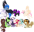 Size: 3829x3602 | Tagged: safe, artist:sweethearttarot, oc, oc only, changeling, draconequus, pegasus, pony, unicorn, wolf pony, beanie, changeling oc, collar, cutie mark, dab, disney, draconequus oc, facial hair, hat, laughing, moustache, piercing, rastafari, simple background, smiling, tongue out, transparent background