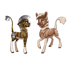 Size: 3000x2400 | Tagged: safe, artist:jackiebloom, oc, oc only, oc:kinyume, hybrid, quagga, zony, duo, ear piercing, earring, high res, interspecies offspring, jewelry, leonine tail, magical lesbian spawn, offspring, parent:daring do, parent:zecora, parents:daringcora, piercing, simple background, socks (coat marking), tail ring, transparent background