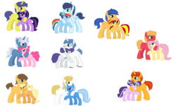 Size: 6904x4216 | Tagged: safe, artist:huskylaua, applejack, big macintosh, caramel, comet tail, fancypants, flash sentry, fluttershy, pinkie pie, pokey pierce, prince blueblood, rainbow dash, rarity, soarin', starlight glimmer, sunburst, sunset shimmer, trixie, twilight sparkle, alicorn, absurd resolution, base used, bluetrix, carajack, cometlight, female, flashimmer, fluttermac, male, missing cutie mark, pokeypie, raripants, shipping, simple background, soarindash, starburst, straight, twilight sparkle (alicorn), white background