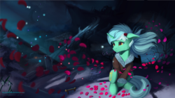 Size: 1920x1080 | Tagged: artist:discordthege, clothes, flower, flower in hair, jacket, lyra heartstrings, night, petals, pony, safe, scenery, snow, solo, unicorn
