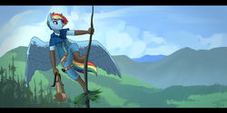 Size: 1024x512 | Tagged: alternate hairstyle, alternate universe, anthro, artist:joan-grace, boots, clothes, cloud, female, forest, mare, mountain, pants, pegasus, rainbow dash, safe, scenery, shirt, shoes, sky, solo, tree, unguligrade anthro