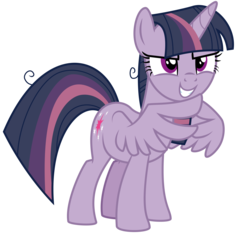 Size: 3719x3500 | Tagged: safe, artist:masem, mean twilight sparkle, alicorn, pony, the mean 6, .ai available, clone, evil grin, female, grin, high res, mare, scary face, scheming, simple background, smiling, smirk, solo, steepling, transparent background, vector, wing hands