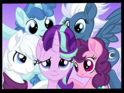 Size: 1024x768 | Tagged: safe, artist:sparkleshadow, double diamond, night glider, party favor, starlight glimmer, sugar belle, earth pony, pegasus, pony, unicorn, crying, equal four, female, happy, male, mare, smiling, stallion