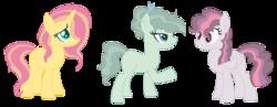 Size: 1112x432 | Tagged: safe, artist:joystick12, oc, oc only, earth pony, pegasus, pony, unicorn, adoptable, base used, female, hair over one eye, magical lesbian spawn, mare, offspring, parent:applejack, parent:fluttershy, parent:party favor, parent:sunset shimmer, parent:svengallop, parent:twilight sparkle, parents:partyjack, parents:sunshyne, parents:twigallop, simple background, transparent background