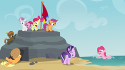 Size: 3840x2160 | Tagged: apple bloom, artist:perplexedpegasus, beach, button mash, cutie mark crusaders, pinkie pie, safe, scootaloo, starlight glimmer, sweetie belle