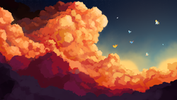 Size: 4800x2700 | Tagged: safe, artist:thefloatingtree, fleetfoot, high winds, misty fly, rainbow dash, soarin', spitfire, surprise, pegasus, pony, cloud, evening, female, flying, mare, scenery, scenery porn, sky, stars, wonderbolts