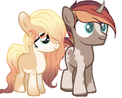 Size: 627x503 | Tagged: artist:aledera, base used, child, colored pupils, colt, curved horn, digital art, duo, earth pony, female, filly, hair over one eye, male, oc, oc:honeydew, oc only, oc:reed, offspring, parent:oc:dainty daffodil, parent:oc:fire dance, parents:oc x oc, pony, safe, simple background, transparent background, unicorn