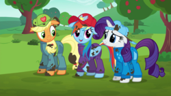 Size: 1920x1080 | Tagged: applejack, apple tree, backwards ballcap, baseball cap, cap, clothes, dirty, floppy ears, hat, rainbow dash, rarity, safe, screencap, the cart before the ponies, tree, trio, vector