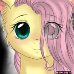 Size: 768x768 | Tagged: artist:nijidashiey7, bust, cute, female, filly, filly fluttershy, fluttershy, hair over one eye, looking at you, mare, pegasus, pony, safe, shyabetes, smiling, younger