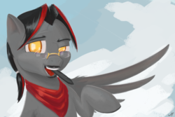 Size: 6000x4000 | Tagged: artist:madgehog, colt, cute, glasses, happy, looking at you, male, mustang, oc, open mouth, pegasus, pony, ponysona, safe, solo, teeth, tongue out, wacom stylus, wings