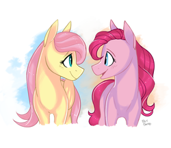 Size: 2200x1900 | Tagged: safe, artist:eeviart, fluttershy, pinkie pie, earth pony, pegasus, pony, abstract background, alternate hairstyle, blushing, cute, diapinkes, eye contact, female, flutterpie, lesbian, looking at each other, mare, shipping, shyabetes, smiling